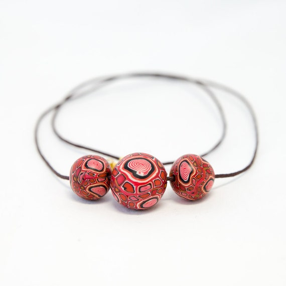 Polymer necklace, necklace, jewellery, bib necklace, polymer clay, beaded necklace, red, handmade, ooak necklace, colorful, bold, fimo, gift