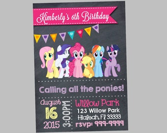 My Little Pony Birthday Invitation 4x6 or 5x7
