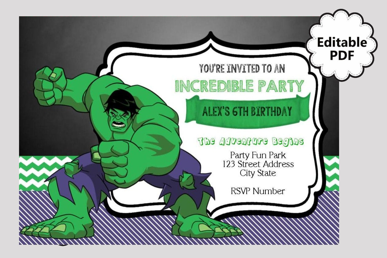 EDITABLE TEXT Hulk Birthday Invitation Hulk Party Invites – Hulk Birthday Invitations