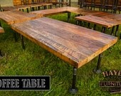 Industrial Coffee Table with Black Iron Pipe Legs