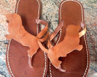 Bassethound shoes flip flops sandals dog gift summer leather