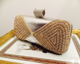 Evening bag - formal clutch- wedding clutch bag- Black- Gold