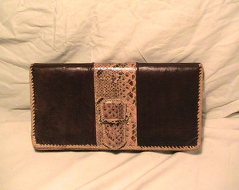 Vintage 1980'Handmade Dark Brown Leather & Snakeskin Clutch Bag