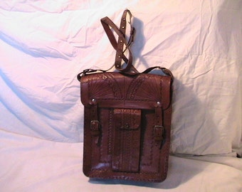 Vintage 1970's Handmade Brown Leaher Handbag Shoulder Bag With Wallet