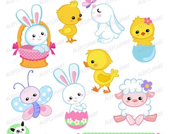 50% OFF SALE Easter clipart, Easter Bunny and Chicks Clipart. Digital clipart . Instant Download