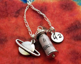 Hitchhiker's Guide to the Galaxy Recycled Book Page and Charm Necklace