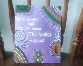 Acrylic Hand Painted / Quote Canvas Panel / Gandhi Quote / Hippie Painting / Purple Painting