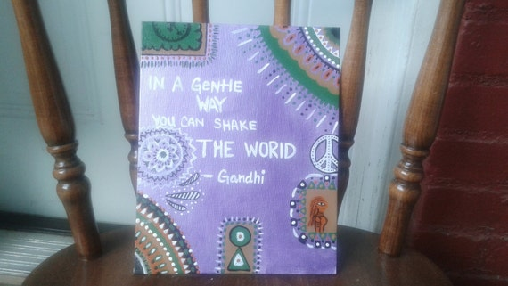 acrylic hand painted    quote canvas panel    gandhi quote