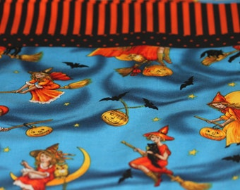 Pillowcase, Halloween, Witches, Flying, Broomsticks, All Hallows Eve, Gift, Bedding, Orange, Stripes, Dots