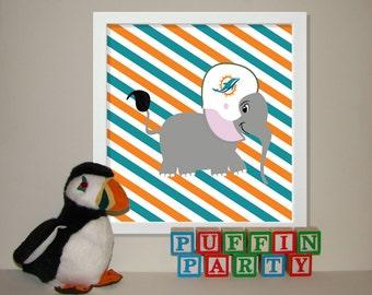Miami Dolphins Baby Art, Elephant Nursery Art, Sports Nursery Decor, Custom Art