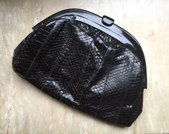 Vintage Black Snake Skin Leather Clutch / Purse