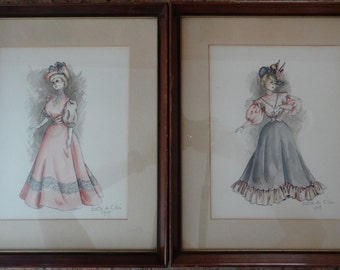 Two Vintage Framed Original Grethe de Cillia Fashion Watercolor Mixed Media Paintings from 1949