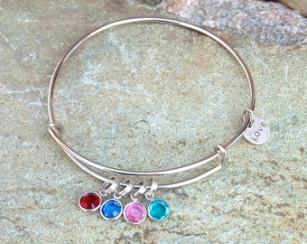 Custom Family Birthstone Charm Bracelet - Expandable Silver Bangle Bracelet with Swarovski Crystals