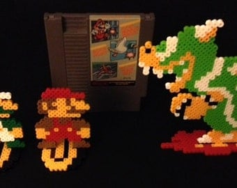 Original Mario Brothers and Bowser NES Perler - With Stands
