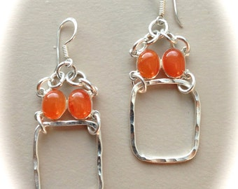 Silver Hammered Hoops and Authentic Carnelian Stone