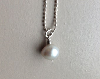 Sterling Silver Pearl Drop Necklace 15""