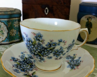 Vintage Teacup and Saucer, Forget-me-nots, floral teacup and Saucer