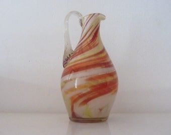 Handmade Soviet Glass Pitcher/Jug Murano style with colored swirl lines - Made in Riga, Latvia Russian - 1970s