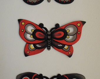 Butterflies - Hand carved, handmade, hand painted