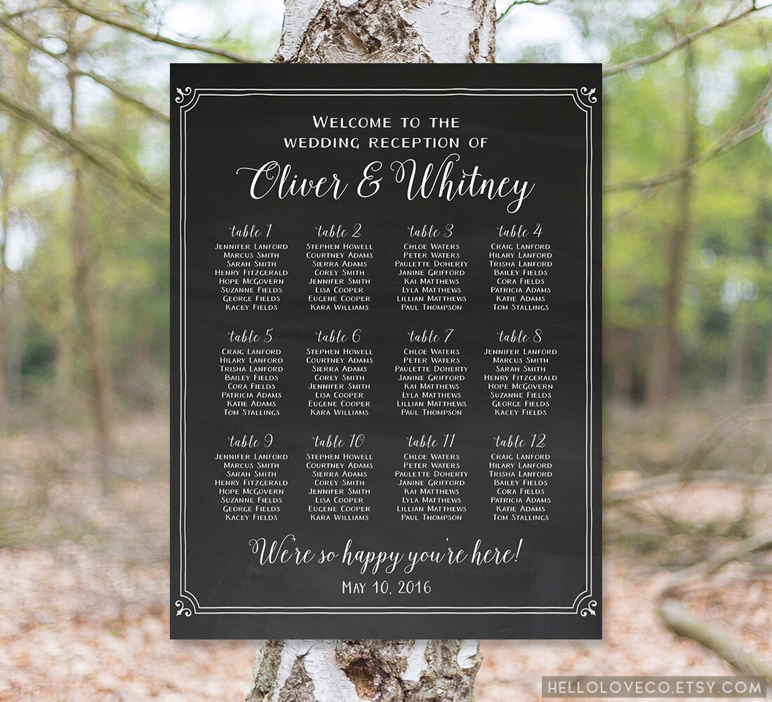 PRINTABLE Wedding Seating Chart Wedding Reception by HelloLoveCo