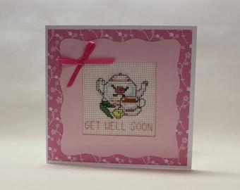 Get Well Soon Cross Stitch Card