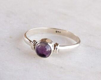 Amethyst  Ring, Amethyst Stone Silver Ring, Silver Ring, 925 Sterling Silver Ring,Midi Ring,Silver Stone Ring,Size US 2 ,3,4,5,6, 7, 8, 9,10
