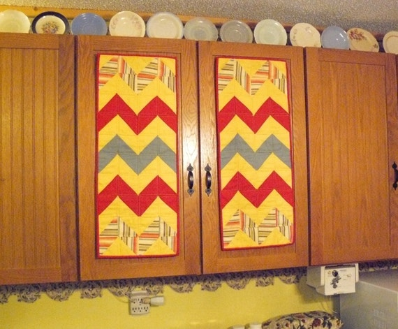 Pair of QUILTED Cabinet Door Covers Red Yellow & Teal Table