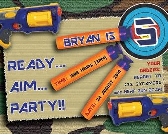 Fun Nerf Gun Birthday Invite 4x6 or 5x7