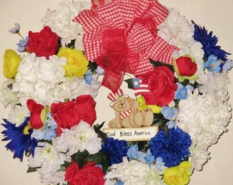 Bursting With 4th of July Pride! An All-Year Round Patriotic Wreath - RED, WHITE & BLOOMS