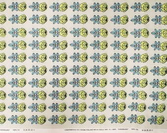 Marimekko fabric, grey/light blue/lime Vihkiruusu 145x50cm by Maija Isola