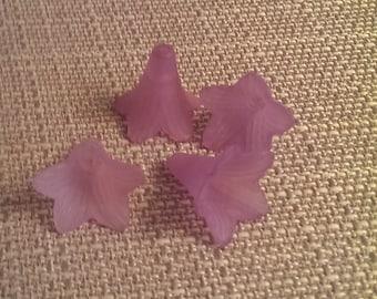 Purple lucite Flowers 4 pcs