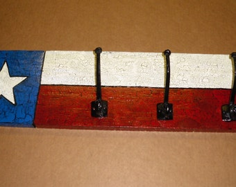 Texas Flag Coat/hat Rack with 3 large double hooks