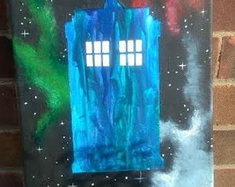 Doctor Who TARDIS crayon painting