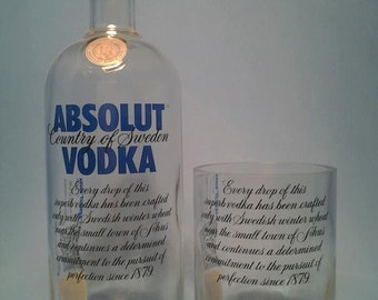 Absolut ® Short Recycled Glass ( Set of 4 ) Liquor Bottle Tumblers