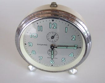 Vintage French Bayard Stentor Repetition Alarm Clock.