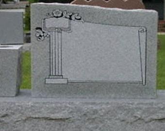 Cemetery Headstone Georgia Gray Granite Scroll Panel Tombstone Headstone Cemetery Grave Marker