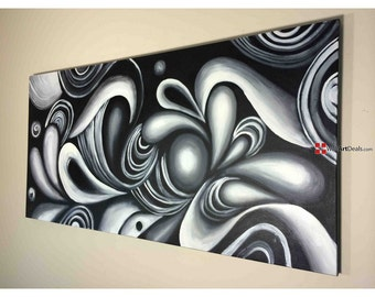 Abstract Black & White Oil Painting