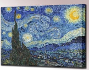 Starry Night Van Gogh Canvas Wall Art Print Picture Vincent Framed Ready to Hang Decor