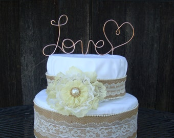 Love Cake Topper, Wire cake topper, Custom Cake Topper, Personalized Topper, Wedding Cake Topper,  Rustic Cake Topper, Cake Decoration, Love