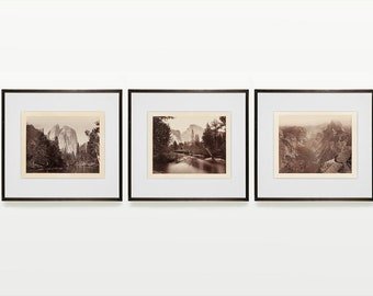 Yosemite Triptych - Carleton Watkins - Yosemite Valley - Half Dome - Black and White Photography - Fine Art Photography - Landscape - Photo