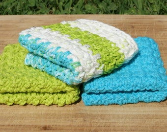 Cotton Dishcloths- Set of Three, Calypso