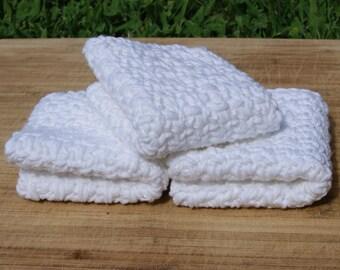 Cotton Dishcloths- Set of Three, White