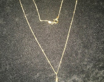 "22"" gold filled bead chain with natural seaglass pendant"