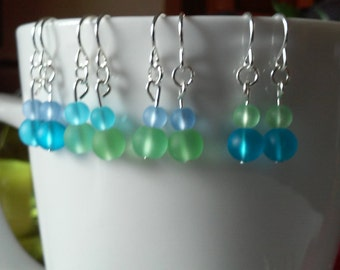 BULK (7 sets) Simply Sea Glass Earrings--blue/green 4-6mm earrings with silver accents
