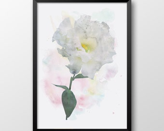 White flower print, Watercolor print, Printable flower, Watercolor poster, Wall decor 154