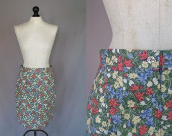 Vintage 80s Laura Ashley Mixed Floral Pencil Skirt | S - M