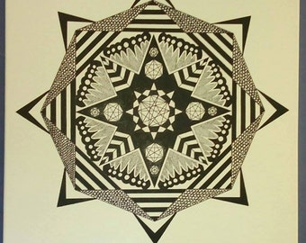 "Modern 24"" Mandala Painting"