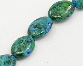 2 perles chrysocolla ovales naturelles teintées bleu/Vert