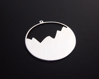 Cynefin - Stackable sterling silver pendant, Mountains layer