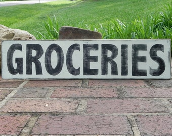 Grocery, Pantry, Kitchen, farmhouse decor, dining room, home decor, Groceries wooden sign, distressed wooden sign, vintage kitchen wall art